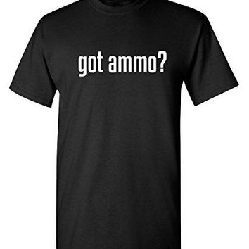 Feelin Good Tees Got Ammo? Mens Military 2nd Amendment Funny Shooting Gun T Shirt L Black