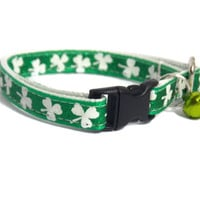St. Patrick's Day cat collar with jingle bell - Breakaway cat collar