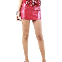 Red Faux Leather Zipper Front Mini Skirt