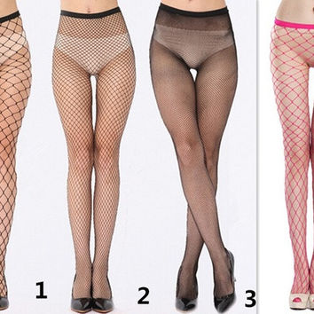 One Size Sexy Women's Net Fishnet Bodystockings Pattern Pantyhose Tights Leggings Stockings Mesh Bodysock Brave Heart [8270338305]