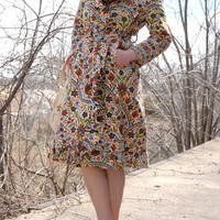 Vintage 1960s jacket, colorful wild paisley print mod retro princess trench coat wrap ruffle S M
