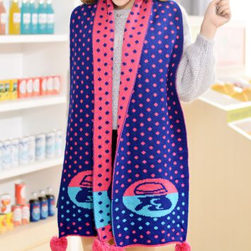 Polka Dots Winter Warm Scarf Cape