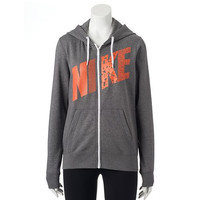 Nike Club Fleece Full Zip Charcoal Hyper Orange Hoodie - Womens