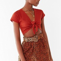 Out From Under Fleur Tie-Front Cropped Top | Urban Outfitters