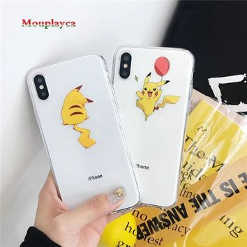 Mouplayca  Cartoon Pocket Monsters  Pikachu Case Silicone Ultrathin Anti Knock TPU Cover For iPhone 6 6S 7 8 x /plusKawaii Pokemon go  AT_89_9