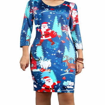 Ugly Christmas Dresses with Santa Claus Print for Women O Neck Three Quarter Sleeve Autumn Winter Dress Plus Size S-XL