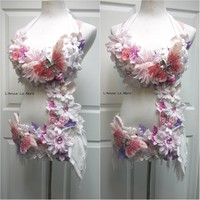 White Pink Lavender Frosted Winter Fairy Monokini Costume
