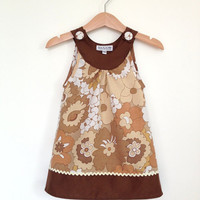 Baby dress 12 to 18 months, 1st birthday outfit, retro baby clothes, childrens clothes UK, vintage brown florals