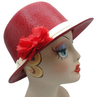 1940's Frank Olive Red And White Straw Brimmed Hat
