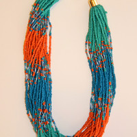 Seed Bead Necklace Set - Blue/Orange