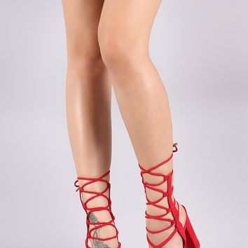 Suede Strappy Lace-Up Chunky Heel