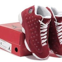 Hot Air Jordans 13 Women Shoes Suede Red White