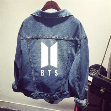 Kpop Bantan Boys BT21 BTS Denim Jeans JIMIN J HOPE JUNGKOOK V Same Women Bomber Autumn Winter Denim Jacket Coats