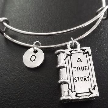 A true story book Stainless Steel Expandable Bangle, monogram personalized item No.775