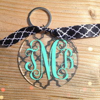 Lattice Monogram Keychain