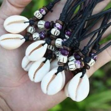 Cowrie Seashell Purple and White Bone Beads Necklaces