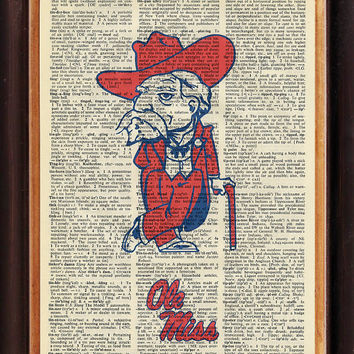 University of Mississippi - Ole Miss - Rebels - Upcycled Vintage Art - Approx. 8 x 10 inches