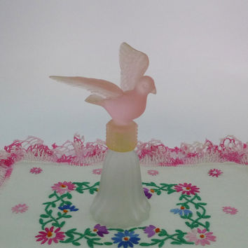 Dove Perfume Bottle, Pink Bird, Avon Cologne Bottle, Frosted Glass