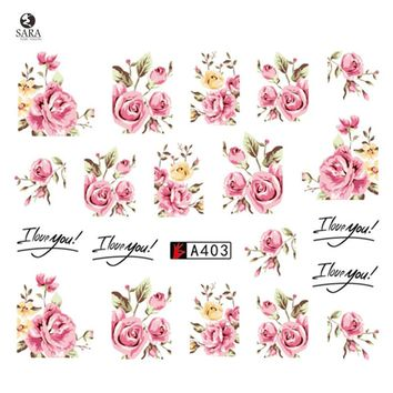 Nail Salon 1pcs New Latest Pink Rose Flower Vine for DIY Nails Toes Decorations Water Transfer Sticker Nail Art Decals SAA403