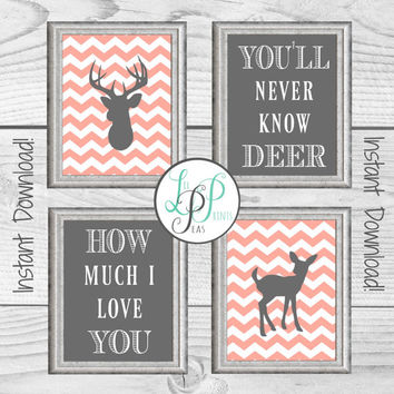 Deer Nursery Decor, Chevron Deer Prints, Woodland Nursery Print, You Are My Sunshine Print, Pink and Grey Baby Gift, New Baby Hunting Gift