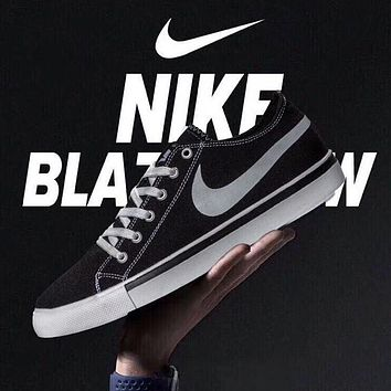 NIKE Blazer Low Fashion New Hook Print Canvas Women Men Running Leisure Shoes