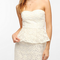 Urban Outfitters - Pins And Needles Embroidered Strapless Peplum Dress