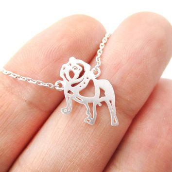 Classic Bulldog Cut Out Shaped Pendant Necklace in Silver | Animal Jewelry