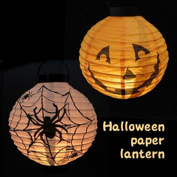 Halloween LED Paper Pumpkin Hanging Lantern DIY Halloween Props Lamp Festival Holiday Party Supplies Decoration