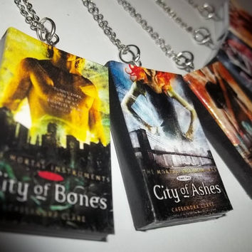 City of Bones, City of Ashes, City of Glass, City of Fallen Angels, City of Lost Souls MORTAL INSTRUMENTS Miniature Book Necklace