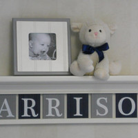 "Navy and Gray Personalized Children Nursery Wall Decor 30"" Linen White Shelf with 8 Wood Letter Plaques - HARRISON"