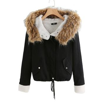 Fleece Lined Jacket With Faux Fur Trim Hood Cotton Outerwear Coats Casual Black Winter Hooded Womens Coat