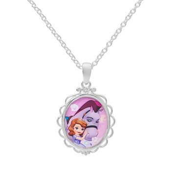 "Disney's Sofia the First & Minimus Silver-Plated ""Friends are Magical"" Pendant Necklace (Grey)"