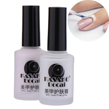Nail Polish Nail Art Tape Finger Skin Protected Glue White Peel Off Liquid Tape Cream Nail Art Polish for Easy Clean Nails