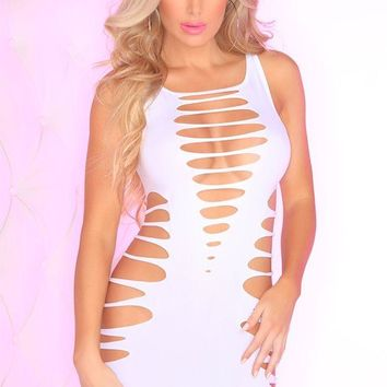 White Sliced Up Seamless Dress in OS
