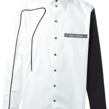 Nasir Mazhar piping detail shirt with contrasting sleeves