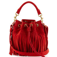Saint Laurent Emmanuelle Small Fringe Bucket Bag, Red