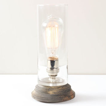 Lantern Pedestal Lamp Rustic Gray- Modern Table Lamp, Edison Bulb Lighting, Gray Wood