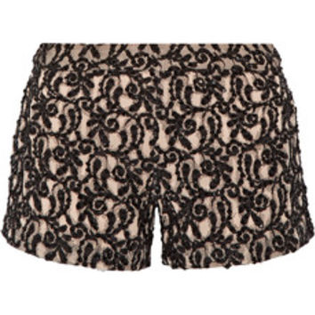Alice + Olivia Embellished guipure lace shorts – 50% at THE OUTNET.COM
