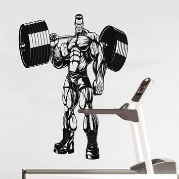 Workout Training Wall Decal, Strong Man Training Sticker, Home Gym Bodybuilding Wall Decor, Barbell Training CrossFit Decor Mural Art se161