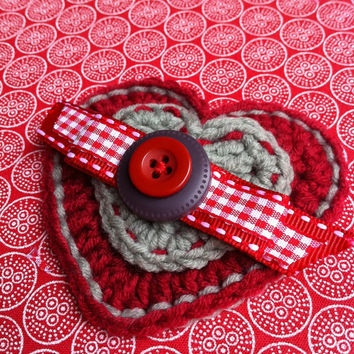 Ruby Red and Silver Grey Crocheted Heart Brooch, gift for her, Brooch pin, gift for her, Valentine's gift