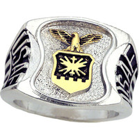 United States Air Force Men's Signet Rhodium Plated Ring -Size