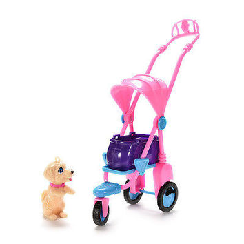 1 Pcs 3 Wheels Stroller Fashion Pet Dog Stroller Furniture for Barbie Pop