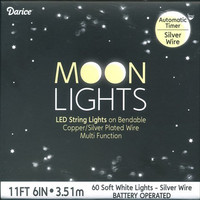 Darice 60-Light Soft White LED Moon Light Set with Timer