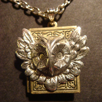 Victorian Style Steampunk Owl Head Locket Necklace