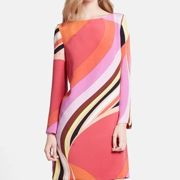 Women's Emilio Pucci Onyx Print Silk Cady Shift Dress,