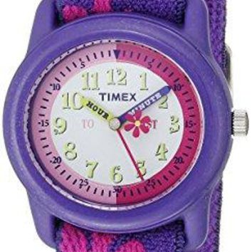 Timex Kids T89022 Time Teacher Purple/Pink Flowers Resin Watch Elastic Fabric Strap
