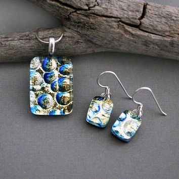 Unique Jewelry Set - Dichroic Glass Jewelry Set - One of a Kind Jewelry - Mothers Day Jewelry - Unique Gift For Mom - Necklace Gift