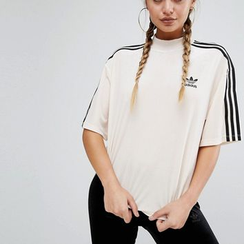 adidas Originals Velvet Three Stripe T-Shirt at asos.com