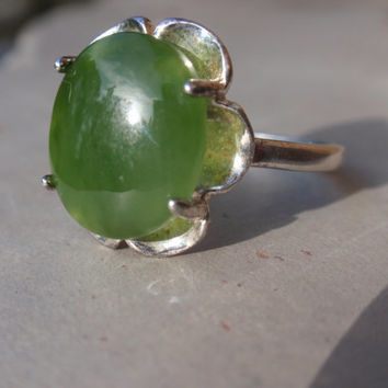 Vintage Chrysoprase Ring sterling buttercup ladies bold