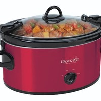 Crock-Pot SCCPVL600-R Cook' N Carry 6-Quart Oval Manual Portable Slow Cooker, Red